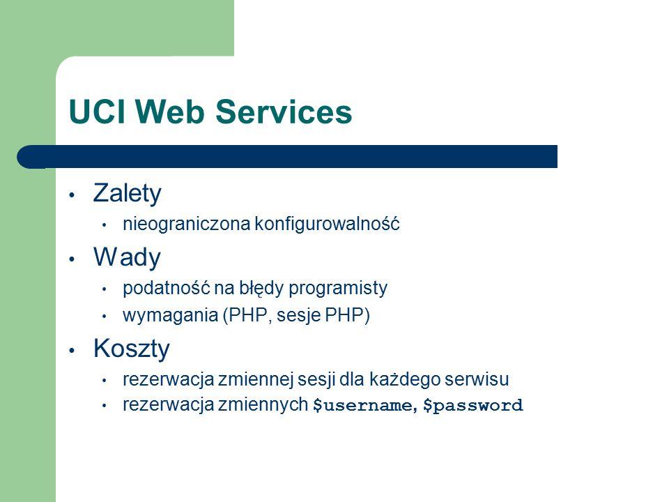 UCI Web Services Zalety nieograniczona konfigurowalność Wady podatność na błędy programisty wymagania (PHP, sesje PHP) Koszty rezerwacja zmiennej sesji dla każdego serwisu rezerwacja zmiennych $username, $password