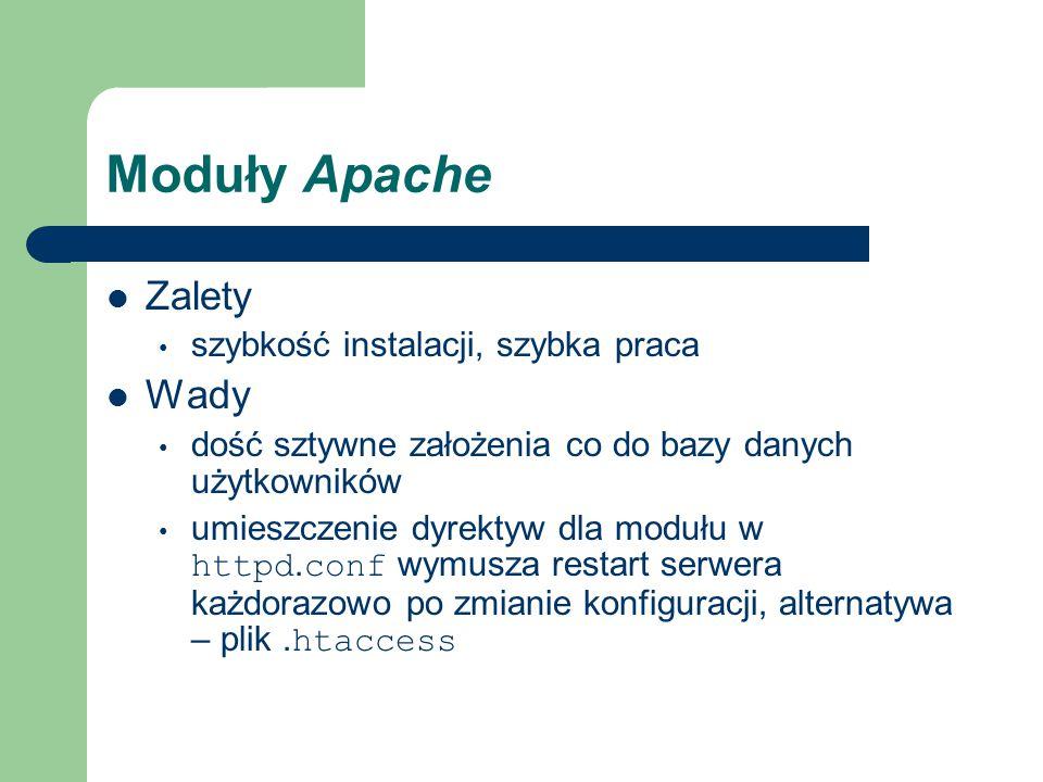 Moduły Apache Zalety szybkość instalacji, szybka praca Wady dość sztywne założenia co do bazy danych użytkowników umieszczenie dyrektyw dla modułu w httpd.