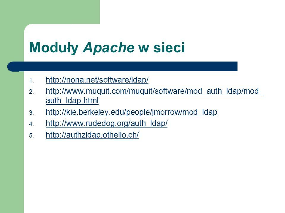 Moduły Apache w sieci 1. http://nona.net/software/ldap/ http://nona.net/software/ldap/ 2.