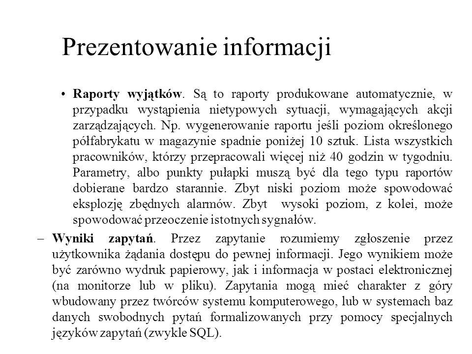 Raporty wyjątków. Są to raporty produkowane automatycznie, w przypadku wystąpienia nietypowych sytuacji, wymagających akcji zarządzających. Np. wygene