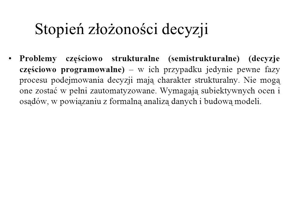 Problemy częściowo strukturalne (semistrukturalne) (decyzje częściowo programowalne) – w ich przypadku jedynie pewne fazy procesu podejmowania decyzji