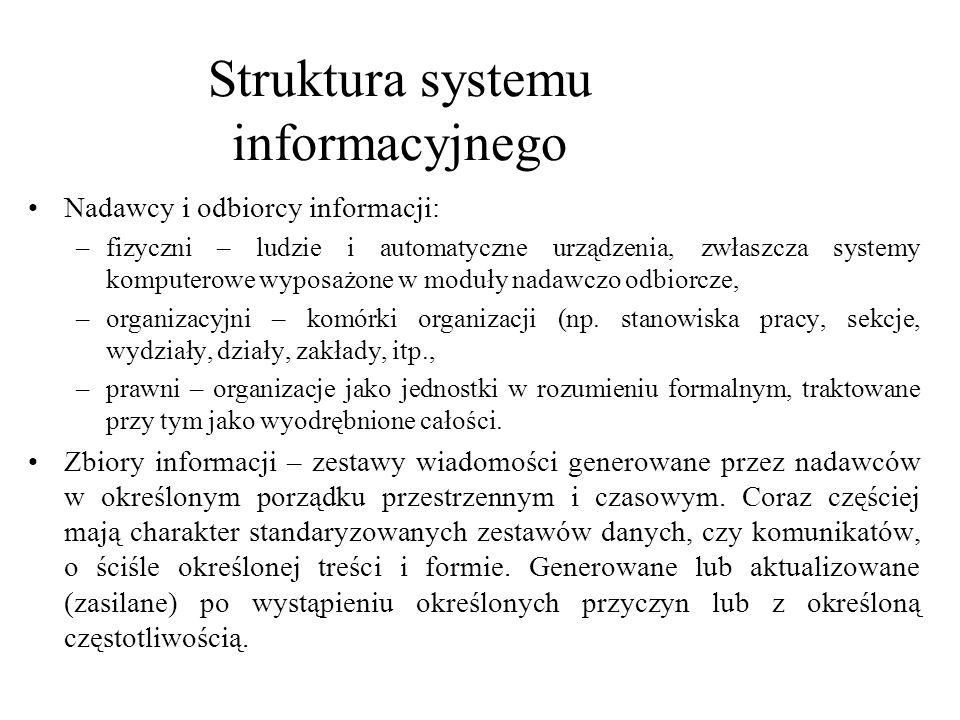 Nadawcy i odbiorcy informacji: –fizyczni – ludzie i automatyczne urządzenia, zwłaszcza systemy komputerowe wyposażone w moduły nadawczo odbiorcze, –or