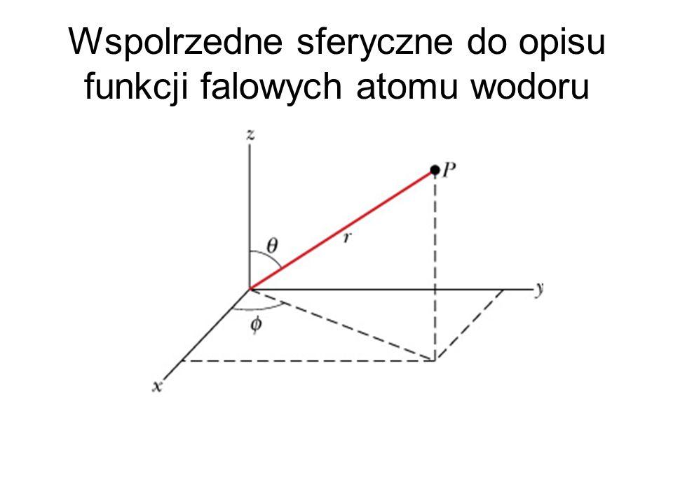 Wspolrzedne sferyczne do opisu funkcji falowych atomu wodoru