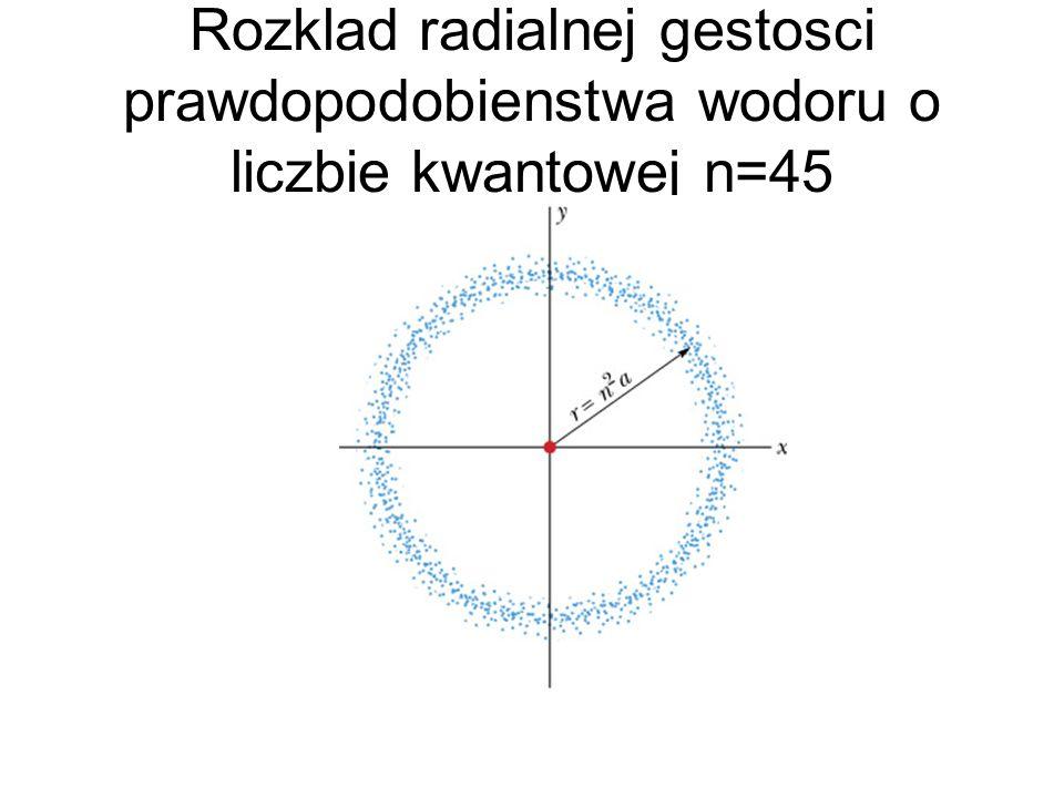 Rozklad radialnej gestosci prawdopodobienstwa wodoru o liczbie kwantowej n=45