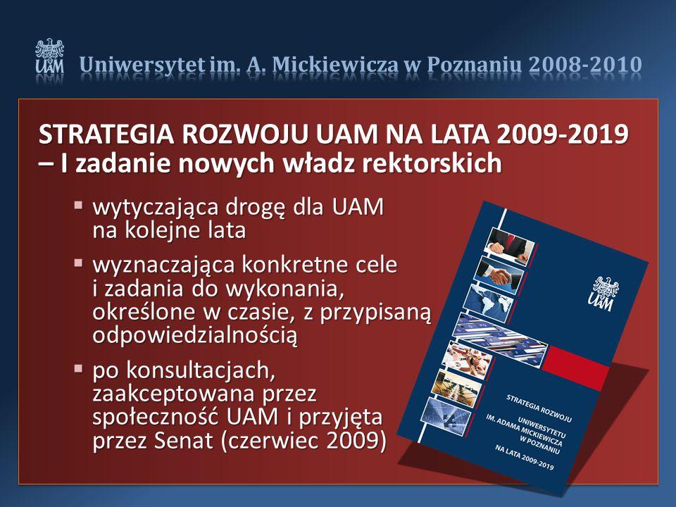 STRATEGIA ROZWOJU UAM NA LATA 2009-2019 – I zadanie nowych władz rektorskich  wytyczająca drogę dla UAM na kolejne lata  wyznaczająca konkretne cele i zadania do wykonania, określone w czasie, z przypisaną odpowiedzialnością  po konsultacjach, zaakceptowana przez społeczność UAM i przyjęta przez Senat (czerwiec 2009)