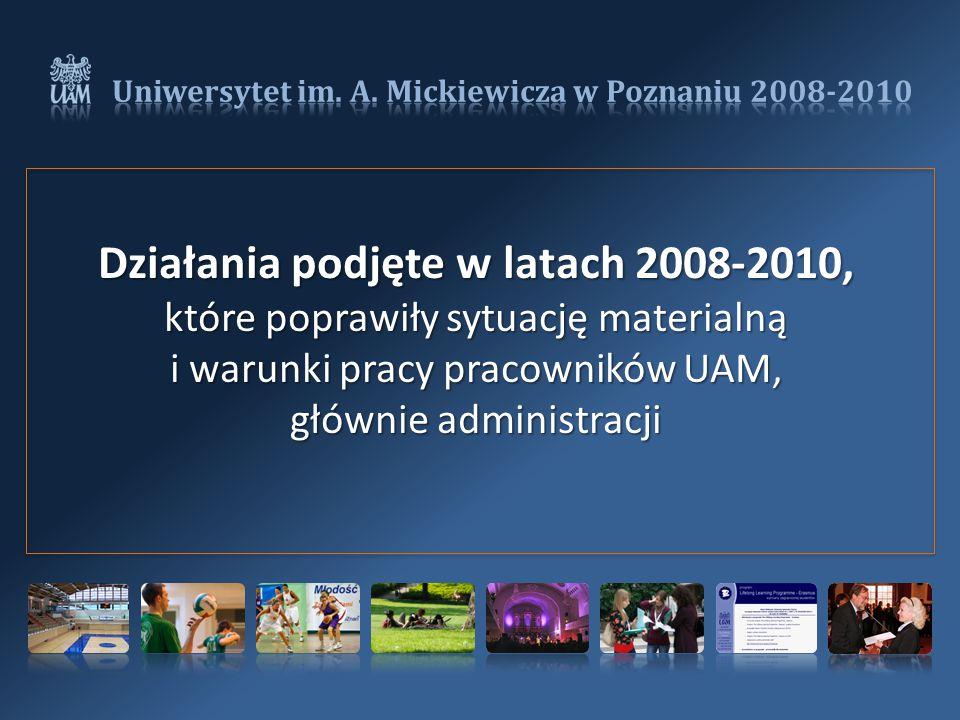 Działania podjęte w latach 2008-2010, które poprawiły sytuację materialną i warunki pracy pracowników UAM, głównie administracji