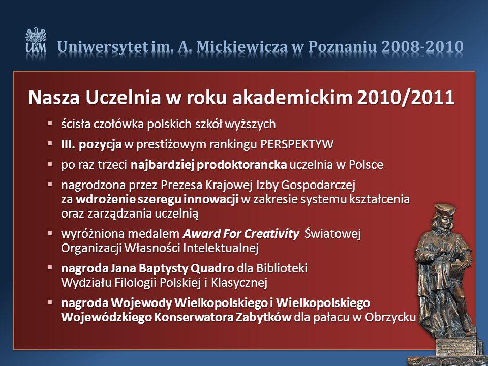Nasza Uczelnia w roku akademickim 2010/2011  ścisła czołówka polskich szkół wyższych  III.