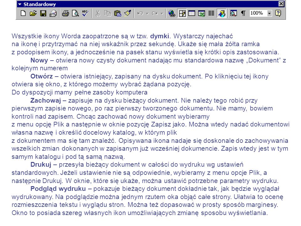 W górnej części ekranu znajduje się szereg pasków. Są to: Pasek tytułowy – obok nazwy programu widnieje na nim nazwa dokumentu Pasek menu – z szeregie