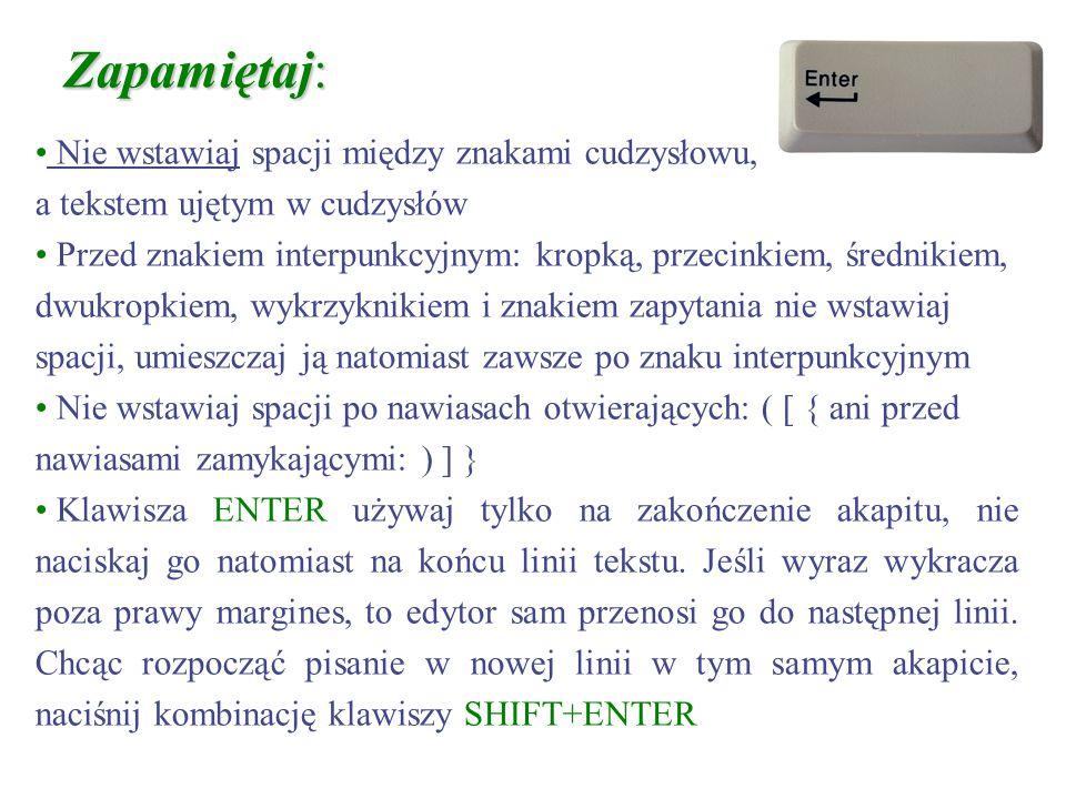 Informacje wyświetlane na pasku stanu w Microsoft Word str X (tu str 27) wyświetla numer strony, zgodny z numerem wprowadzonym w nagłówku lub stopce s