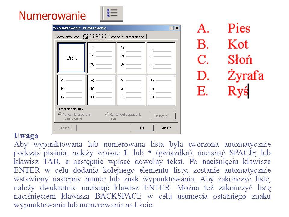 Format / Wypunktowanie i Numerowanie.... Wypunktowanie