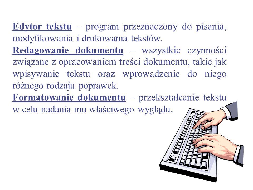 Edytor (procesor) tekstu, (angielskie text editor, word processor), program służący do wszechstronnego przetwarzania dokumentów tekstowych. Pod względ