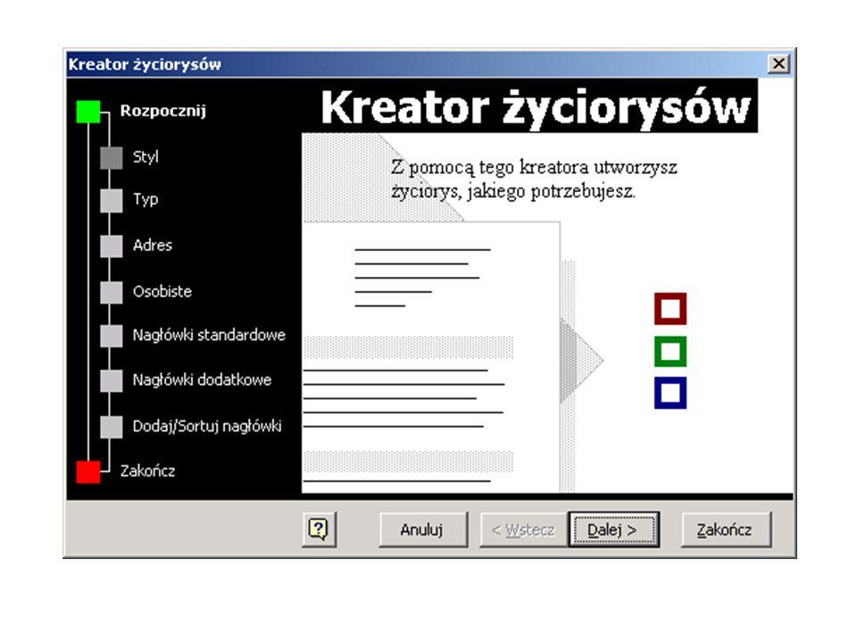 Szablony Plik / Nowy...