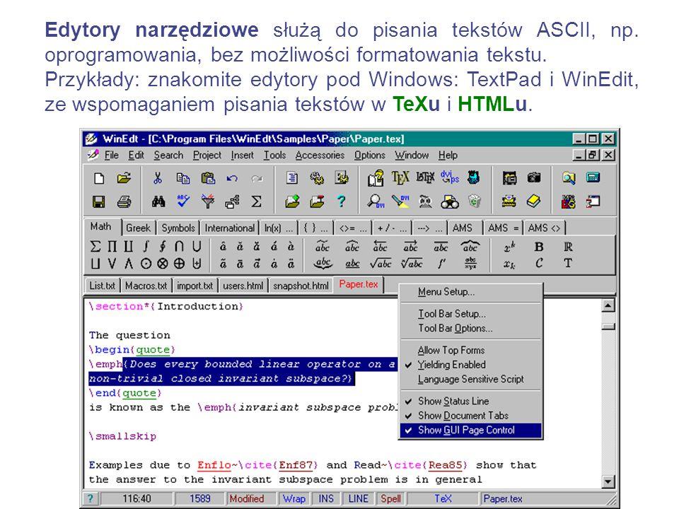WordPad Notatni k Podstawowe Edytory teksu to: