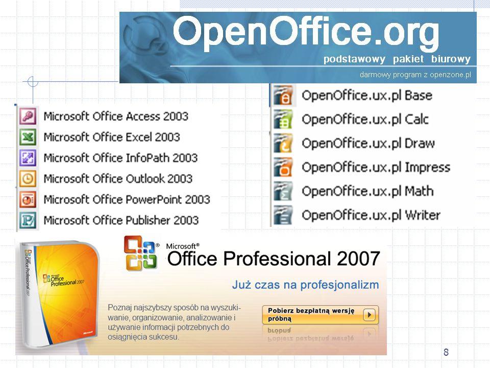 7 OpenOffice.org OpenOffice.org to pakiet biurowy działający w wielu systemach operacyjnych i środowiskach, z otwartym dostępem do kodu źródłowego. Mo