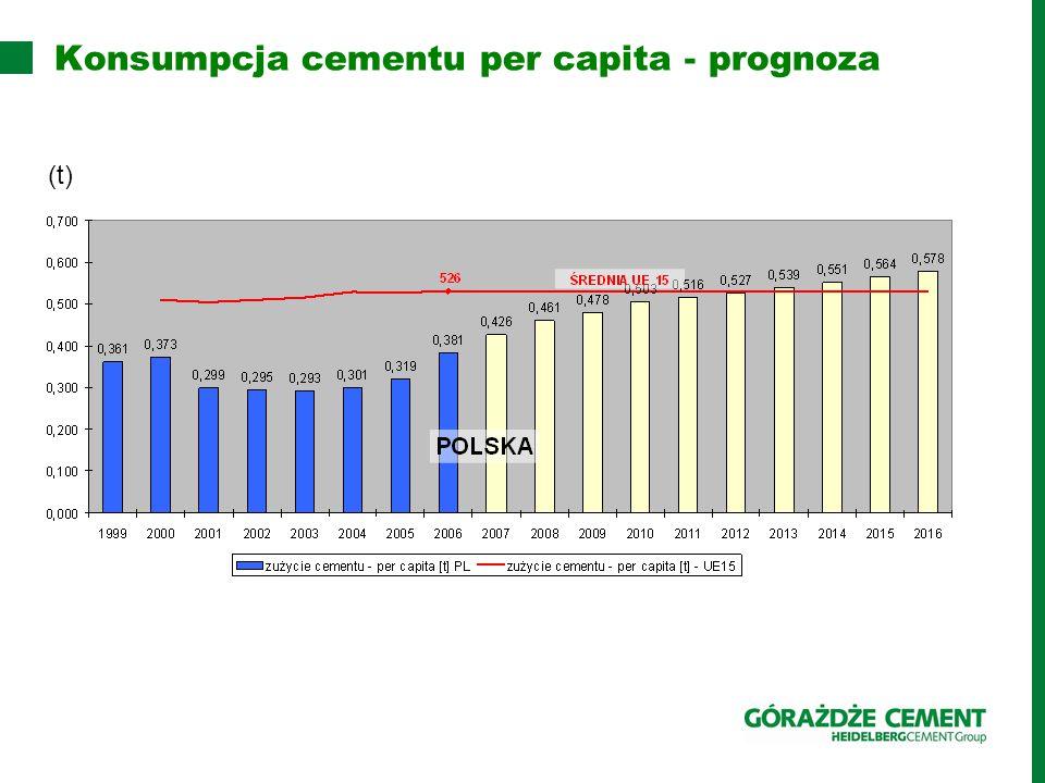 Konsumpcja cementu per capita - prognoza (t)