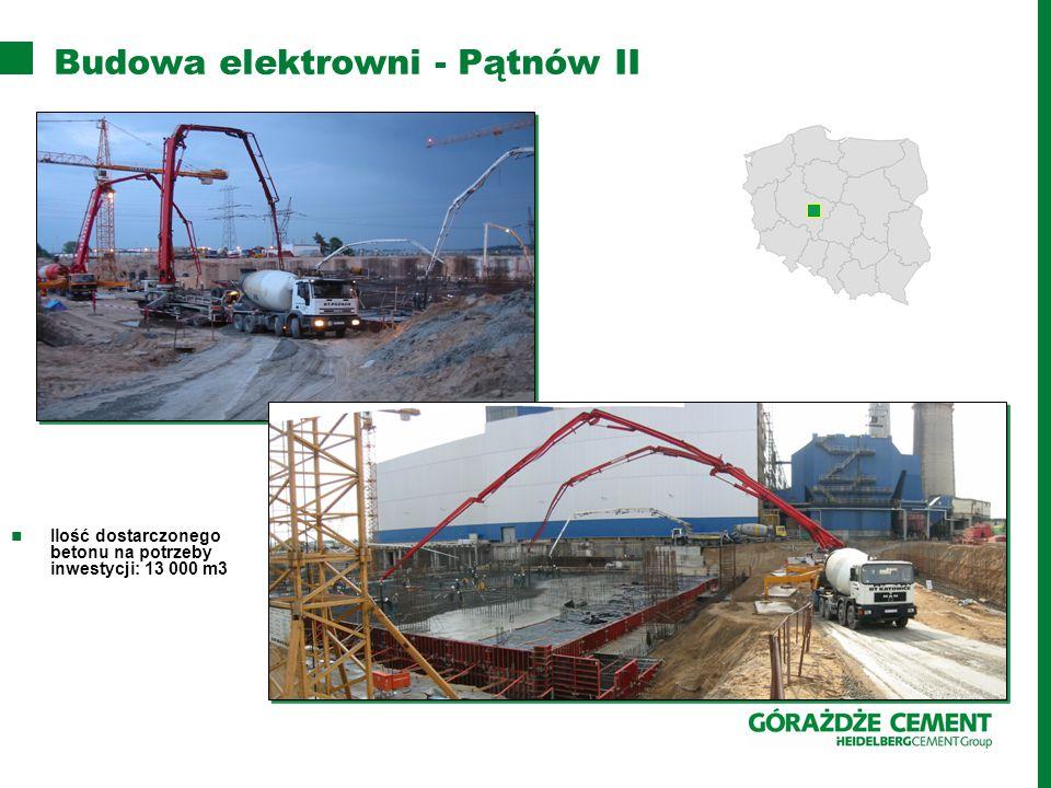 Budowa elektrowni - Pątnów II Ilość dostarczonego betonu na potrzeby inwestycji: 13 000 m3