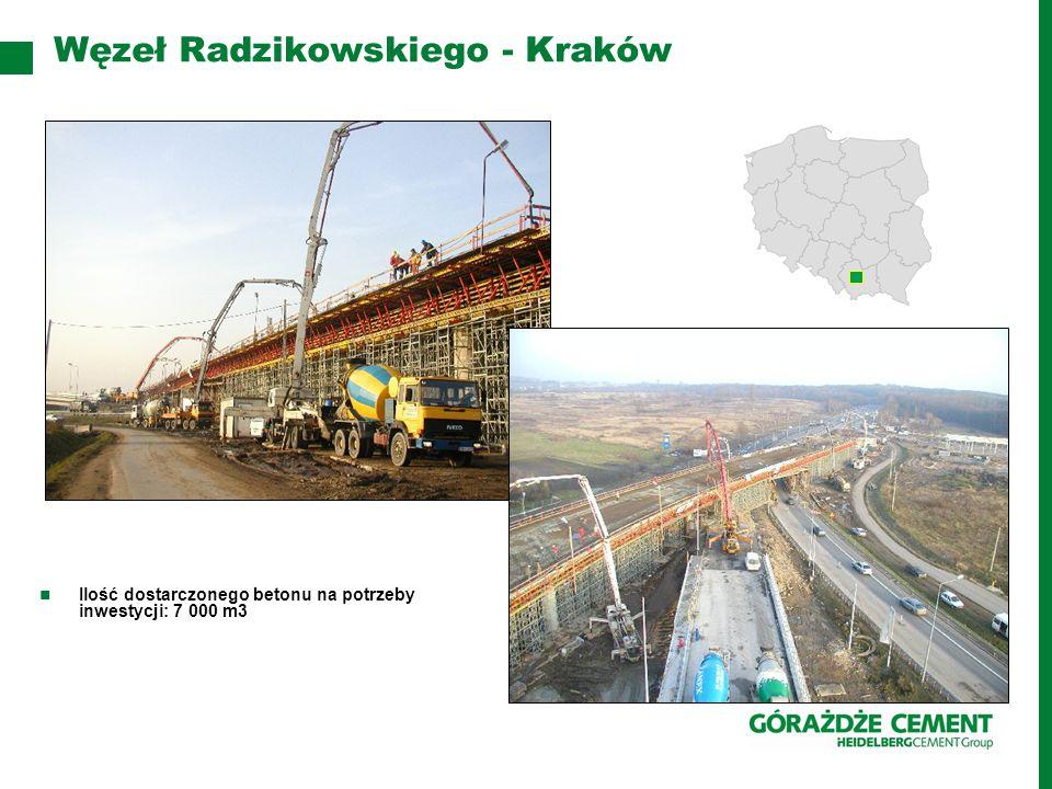 Węzeł Radzikowskiego - Kraków Ilość dostarczonego betonu na potrzeby inwestycji: 7 000 m3