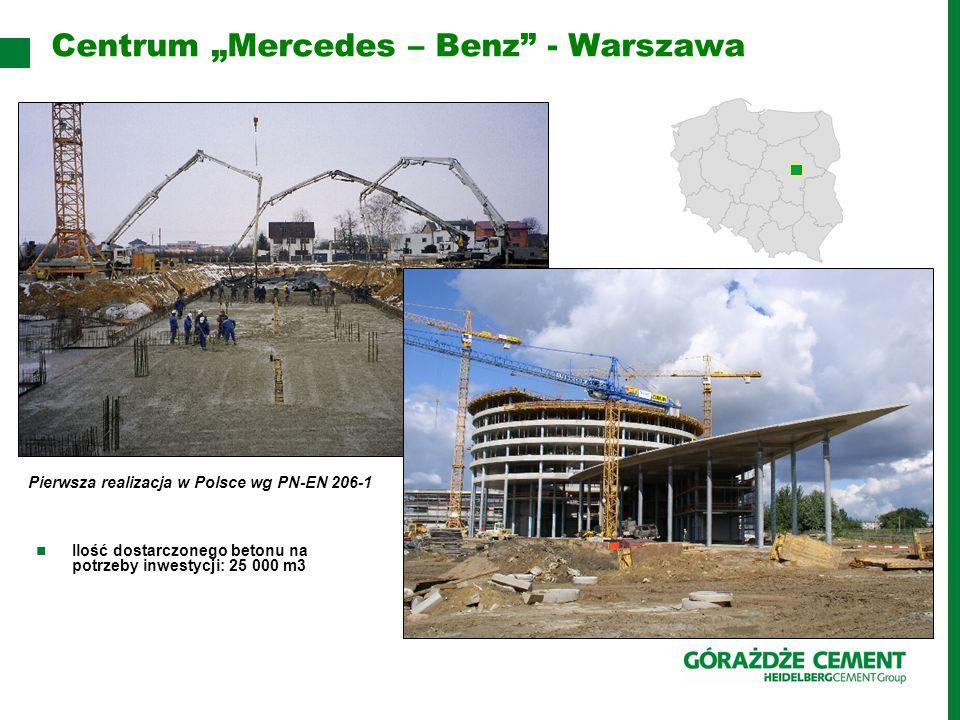 """Centrum """"Mercedes – Benz - Warszawa Ilość dostarczonego betonu na potrzeby inwestycji: 25 000 m3 Pierwsza realizacja w Polsce wg PN-EN 206-1"""