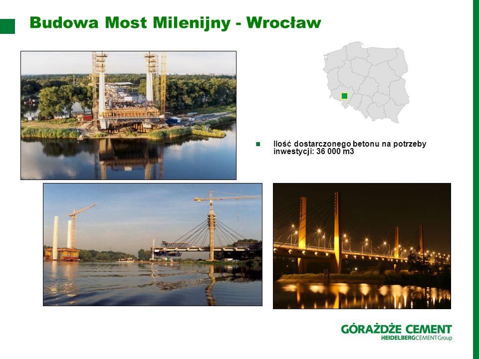 Budowa Most Milenijny - Wrocław Ilość dostarczonego betonu na potrzeby inwestycji: 36 000 m3