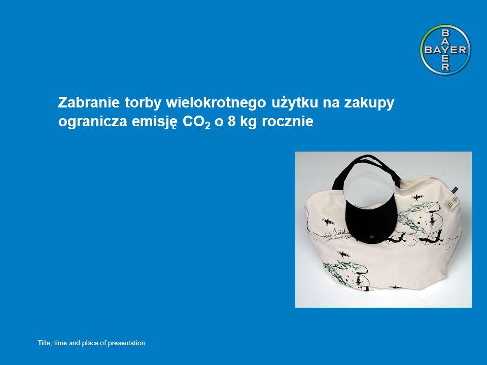 Title, time and place of presentation Zabranie torby wielokrotnego użytku na zakupy ogranicza emisję CO 2 o 8 kg rocznie