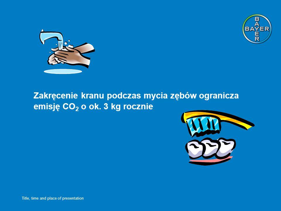 Title, time and place of presentation Zakręcenie kranu podczas mycia zębów ogranicza emisję CO 2 o ok.