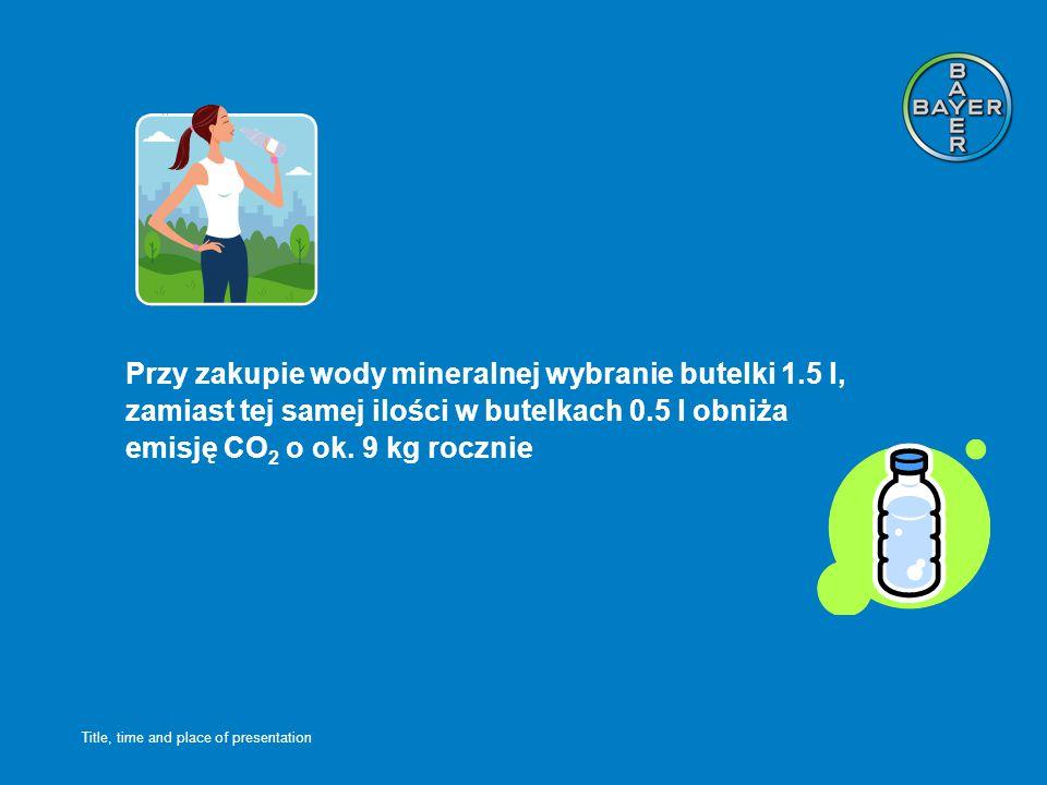 Title, time and place of presentation Przy zakupie wody mineralnej wybranie butelki 1.5 l, zamiast tej samej ilości w butelkach 0.5 l obniża emisję CO 2 o ok.