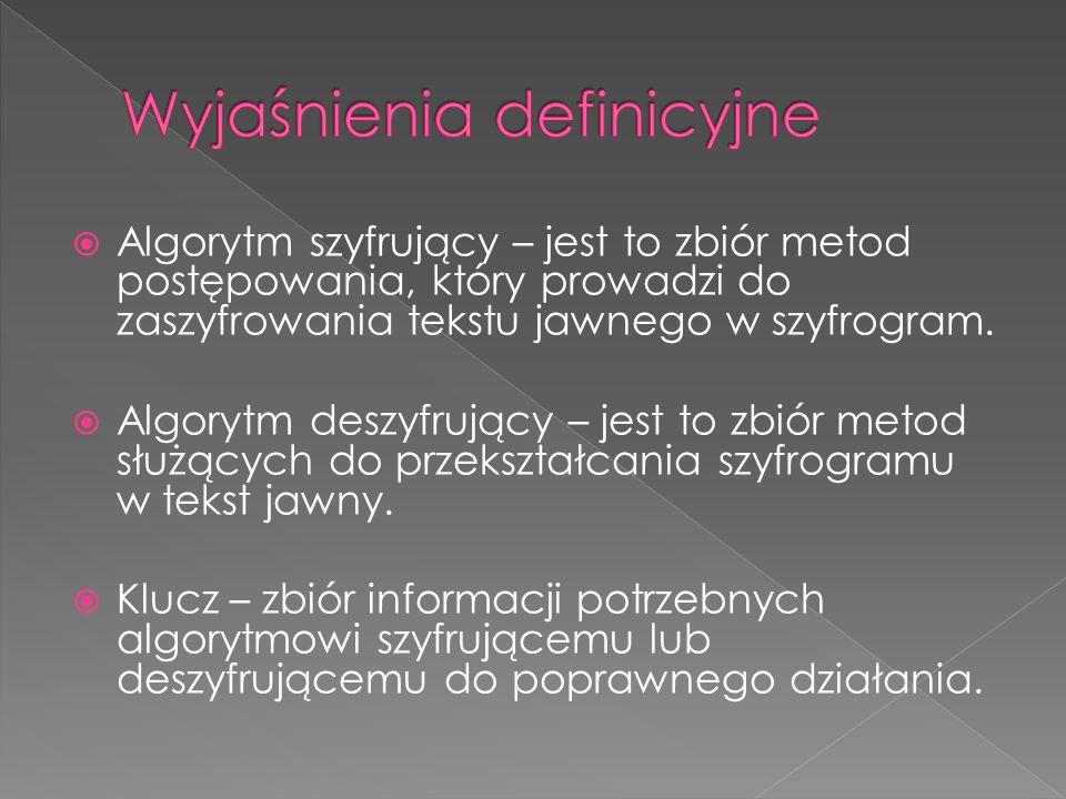  Algorytm szyfrujący – jest to zbiór metod postępowania, który prowadzi do zaszyfrowania tekstu jawnego w szyfrogram.  Algorytm deszyfrujący – jest