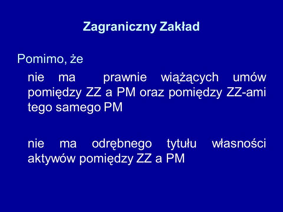 Zagraniczny Zakład Pomimo, że nie ma prawnie wiążących umów pomiędzy ZZ a PM oraz pomiędzy ZZ-ami tego samego PM nie ma odrębnego tytułu własności aktywów pomiędzy ZZ a PM