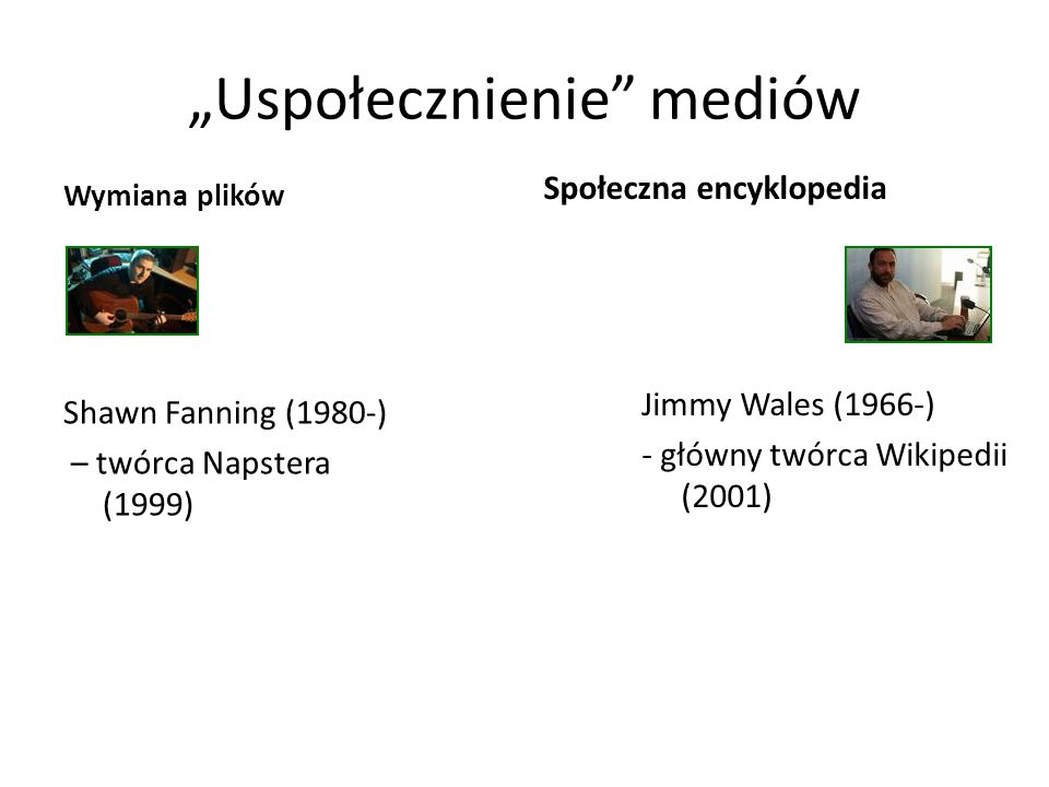 """""""Uspołecznienie mediów Wymiana plików Shawn Fanning (1980-) – twórca Napstera (1999) Społeczna encyklopedia Jimmy Wales (1966-) - główny twórca Wikipedii (2001)"""
