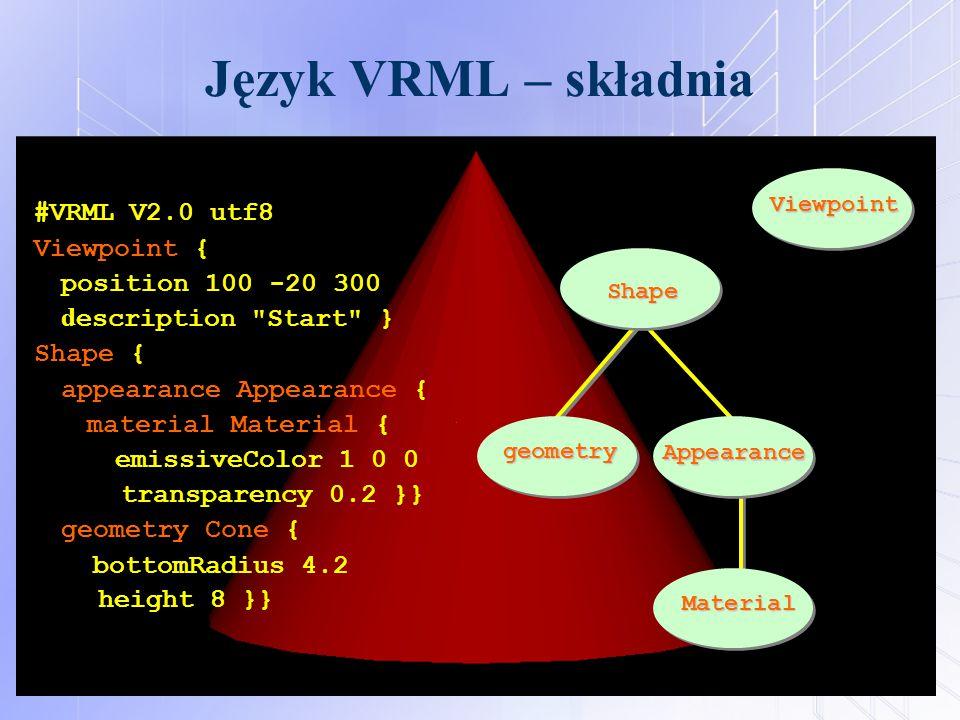 Język VRML – składnia #VRML V2.0 utf8 Viewpoint { position 100 -20 300 d escription