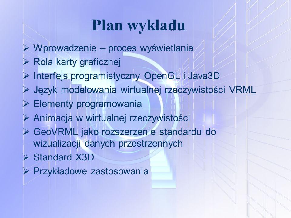 Plan wykładu  Wprowadzenie – proces wyświetlania  Rola karty graficznej  Interfejs programistyczny OpenGL i Java3D  Język modelowania wirtualnej r