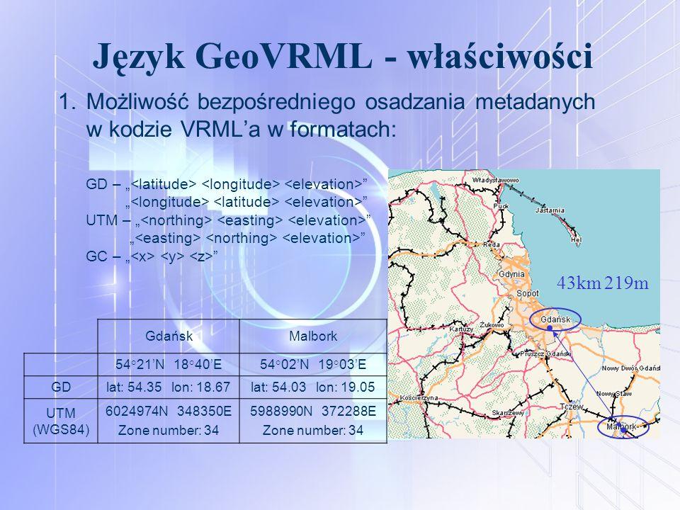 """Język GeoVRML - właściwości 1.Możliwość bezpośredniego osadzania metadanych w kodzie VRML'a w formatach: GD – """" """" """" """" UTM – """" """" """" """" GC – """" """" 43km 219m"""