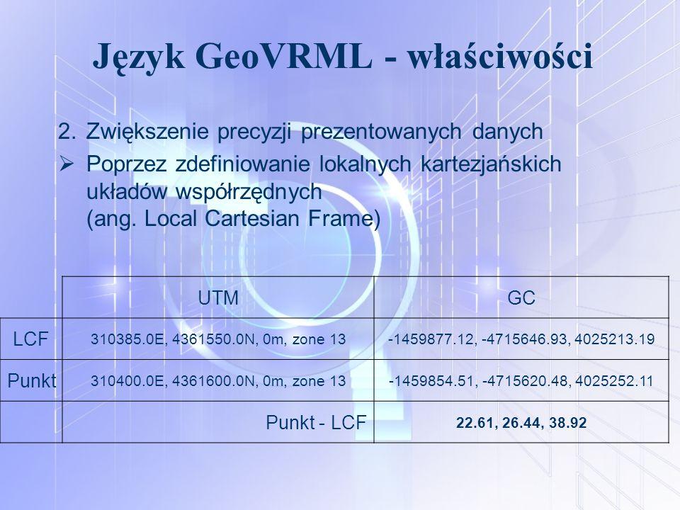 Język GeoVRML - właściwości 2.Zwiększenie precyzji prezentowanych danych  Poprzez zdefiniowanie lokalnych kartezjańskich układów współrzędnych (ang.