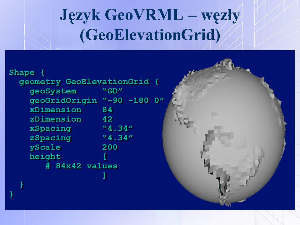 Język GeoVRML – węzły (GeoElevationGrid)
