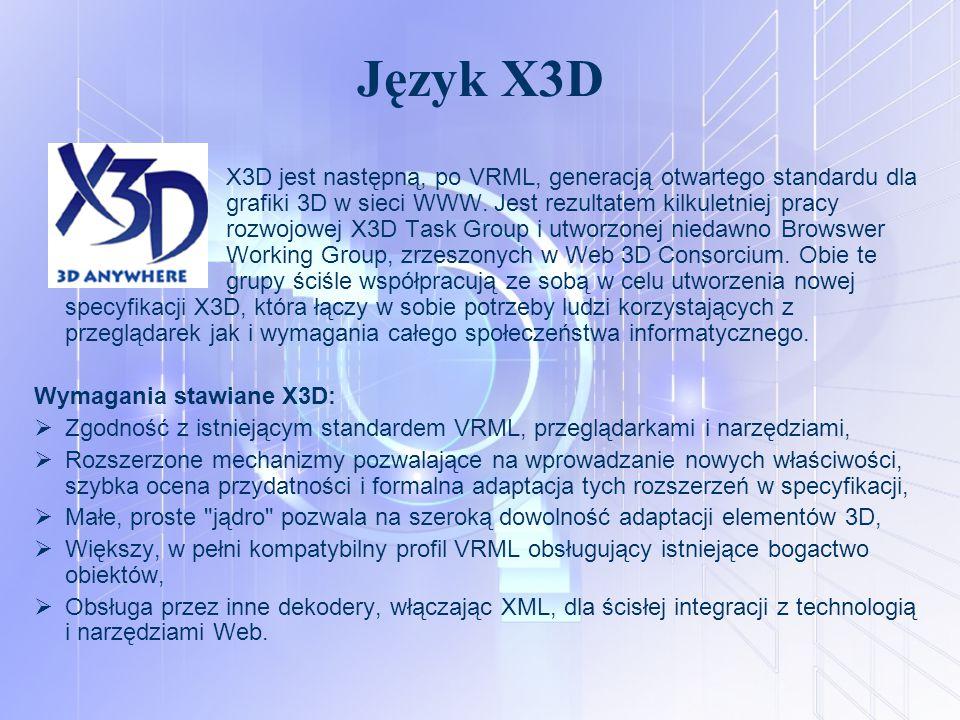 Język X3D X3D jest następną, po VRML, generacją otwartego standardu dla grafiki 3D w sieci WWW. Jest rezultatem kilkuletniej pracy rozwojowej X3D Task
