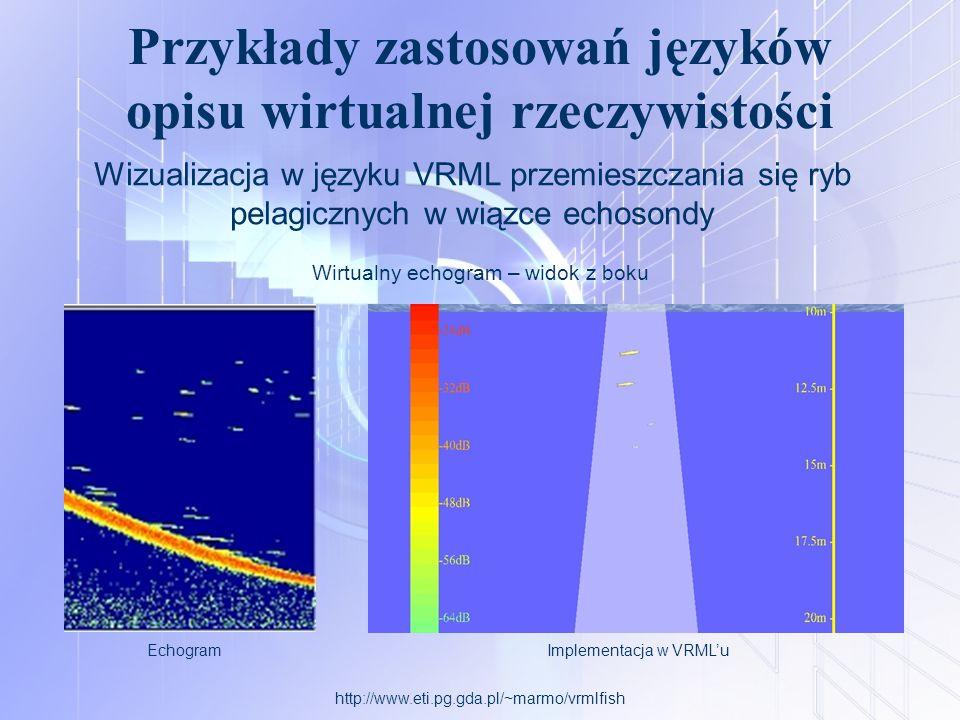 Przykłady zastosowań języków opisu wirtualnej rzeczywistości http://www.eti.pg.gda.pl/~marmo/vrmlfish Wirtualny echogram – widok z boku EchogramImplem