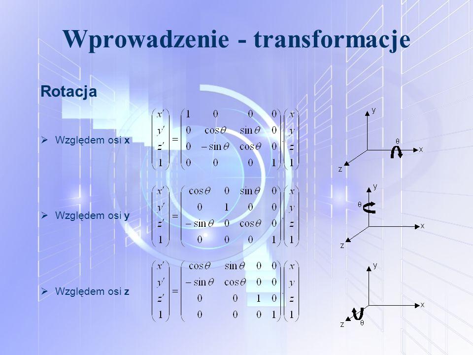 Wprowadzenie - transformacje Rotacja  Względem osi x  Względem osi y  Względem osi z