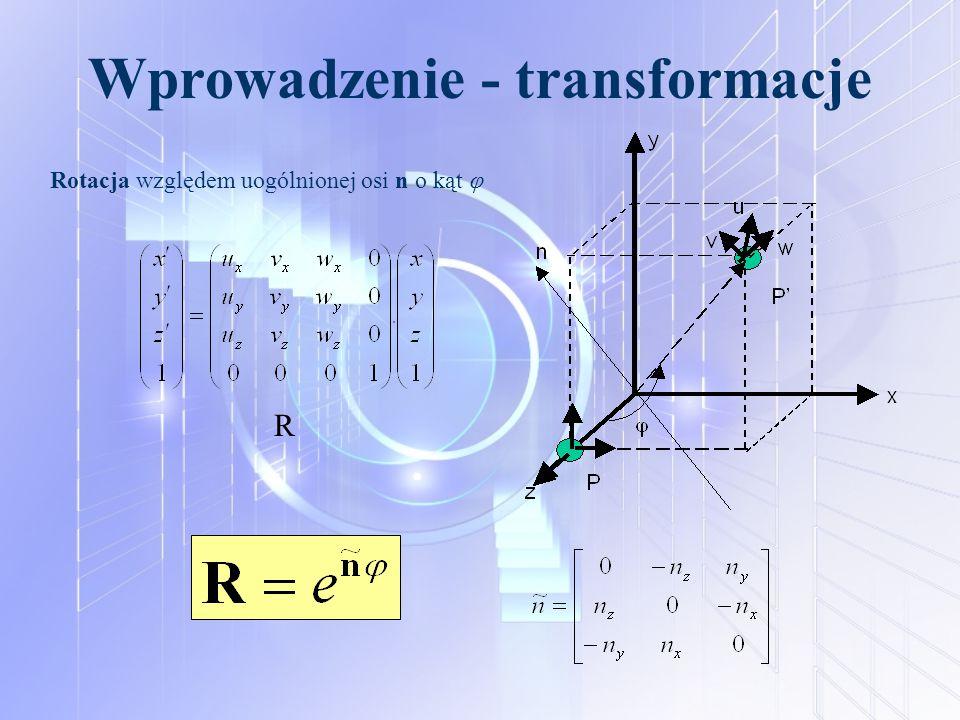Wprowadzenie - transformacje Rotacja względem uogólnionej osi n o kąt  R