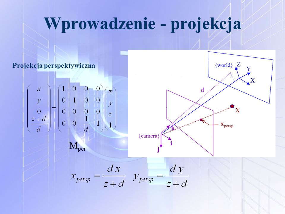 Wprowadzenie - projekcja Projekcja perspektywiczna M per