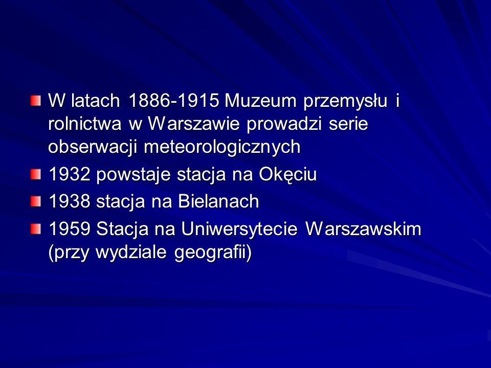 W latach 1886-1915 Muzeum przemysłu i rolnictwa w Warszawie prowadzi serie obserwacji meteorologicznych 1932 powstaje stacja na Okęciu 1938 stacja na