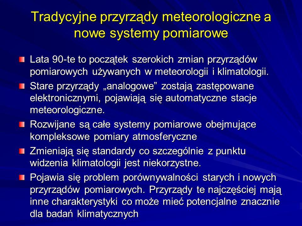 Tradycyjne przyrządy meteorologiczne a nowe systemy pomiarowe Lata 90-te to początek szerokich zmian przyrządów pomiarowych używanych w meteorologii i