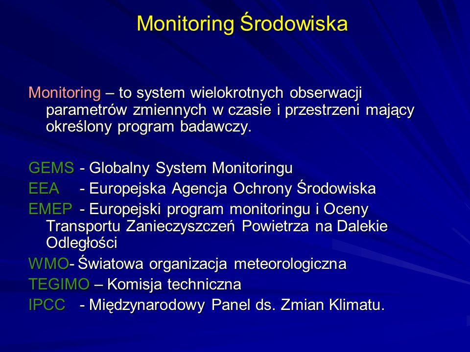 Monitoring Środowiska Monitoring – to system wielokrotnych obserwacji parametrów zmiennych w czasie i przestrzeni mający określony program badawczy. G
