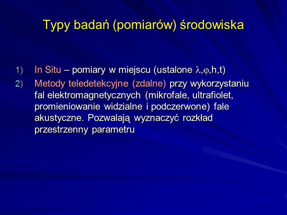 Typy badań (pomiarów) środowiska 1) In Situ – pomiary w miejscu (ustalone, ,h,t) 2) Metody teledetekcyjne (zdalne) przy wykorzystaniu fal elektromagn