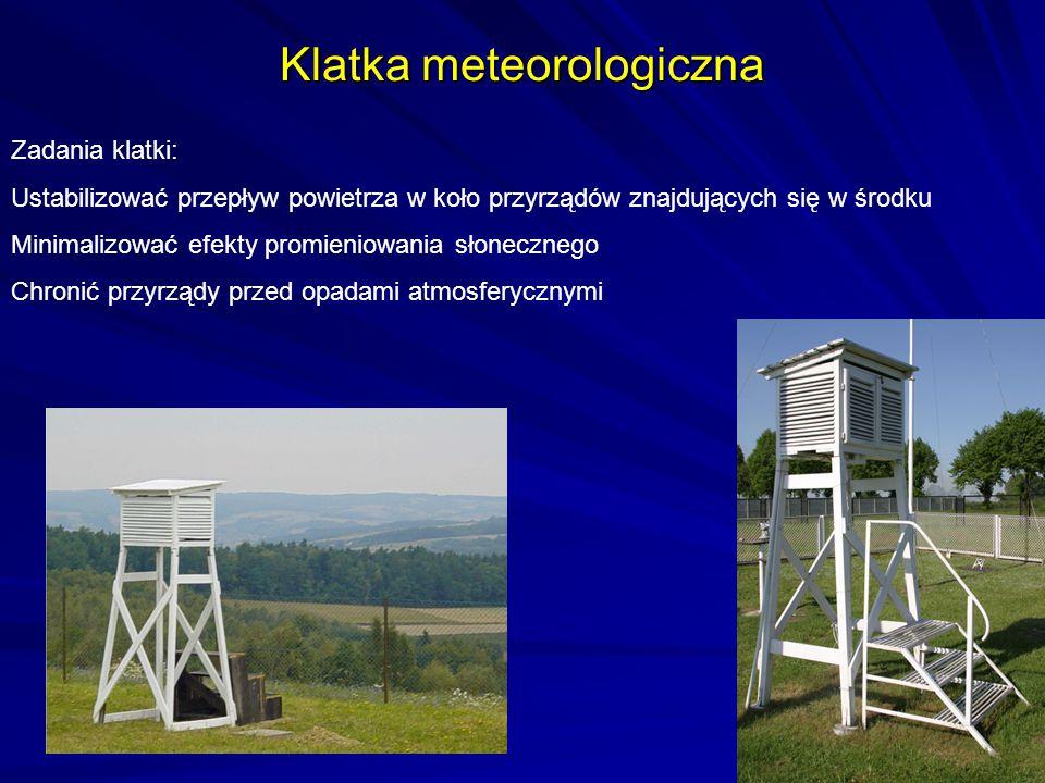 Klatka meteorologiczna Zadania klatki: Ustabilizować przepływ powietrza w koło przyrządów znajdujących się w środku Minimalizować efekty promieniowani