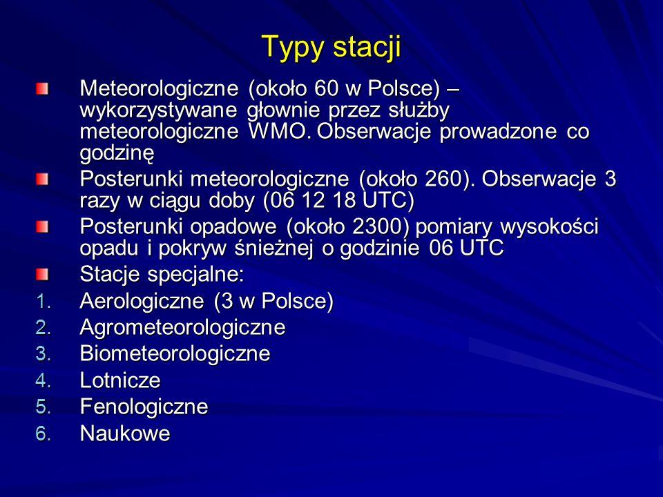 Typy stacji Meteorologiczne (około 60 w Polsce) – wykorzystywane głownie przez służby meteorologiczne WMO. Obserwacje prowadzone co godzinę Posterunki