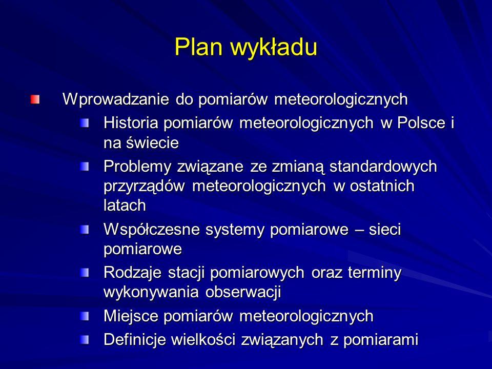 Plan wykładu Wprowadzanie do pomiarów meteorologicznych Historia pomiarów meteorologicznych w Polsce i na świecie Problemy związane ze zmianą standard