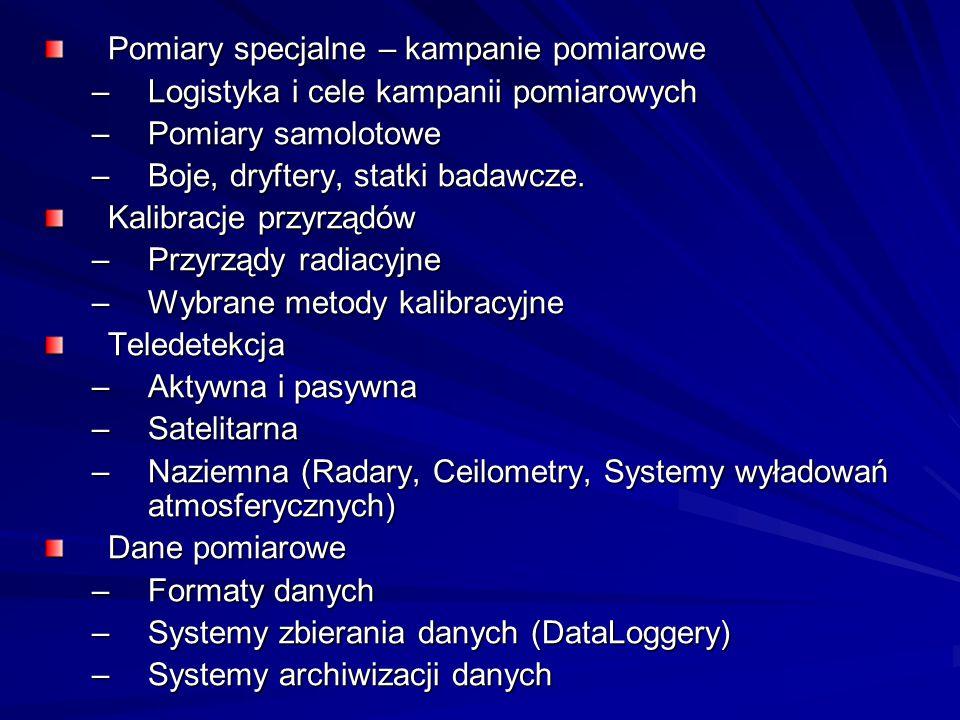 Literatura 1.Różdżyński K. - Miernictwo Meteorologiczne tom I, II, Warszawa 1995 2.