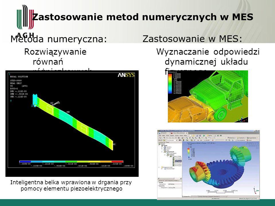 14 Zastosowanie metod numerycznych w MES Metoda numeryczna: Rozwiązywanie równań różniczkowych Zastosowanie w MES: Wyznaczanie odpowiedzi dynamicznej