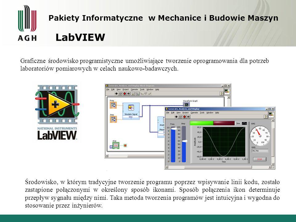 Pakiety Informatyczne w Mechanice i Budowie Maszyn LabVIEW Graficzne środowisko programistyczne umożliwiające tworzenie oprogramowania dla potrzeb lab