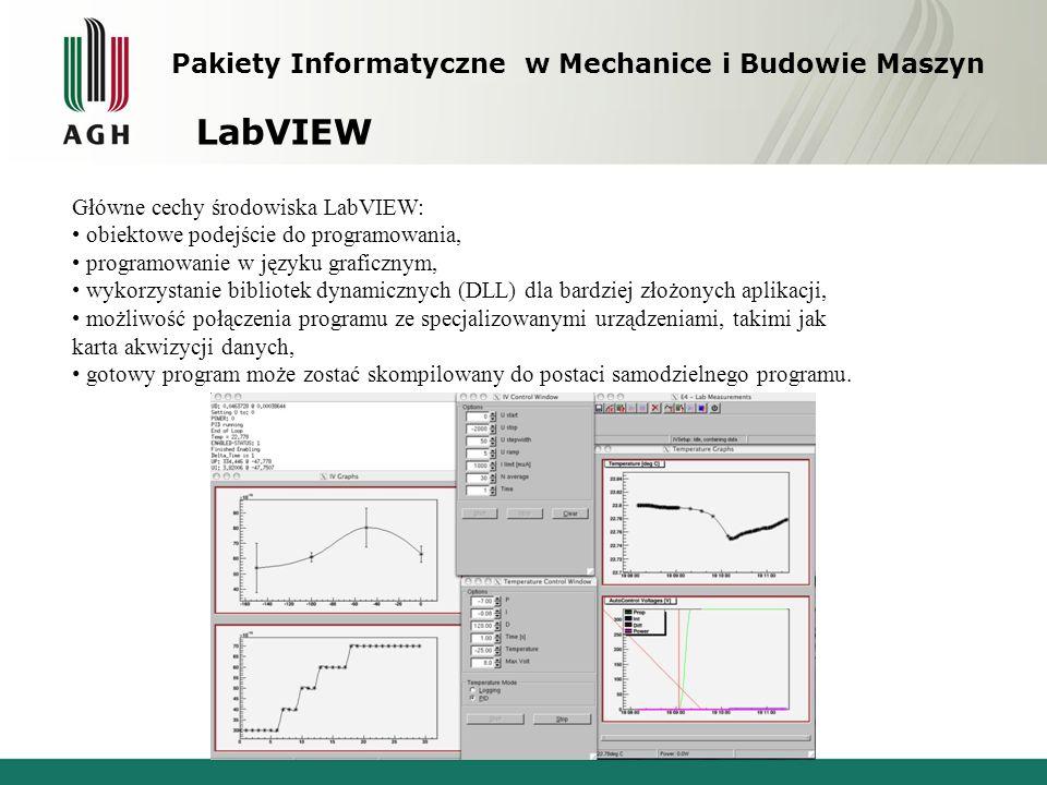 Pakiety Informatyczne w Mechanice i Budowie Maszyn LabVIEW Główne cechy środowiska LabVIEW: obiektowe podejście do programowania, programowanie w języ
